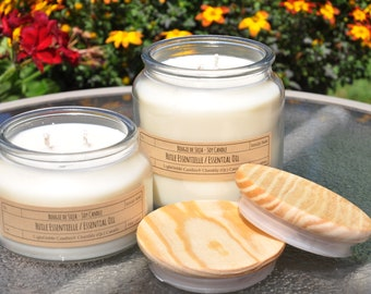 100% Organic Scented Candle, Vegetable Soy Wax, Double Cotton Wicks, Glass Jar with Wood Lid, Essential Oils