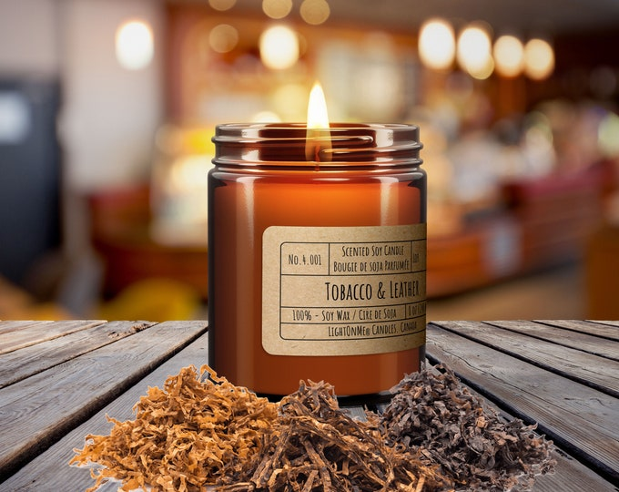 TOBACCO AND LEATHER︱8oz Candle︱Vegetal Soy Wax︱Amber Jar Candle︱Scented Candle︱Soy Candle︱Candle Lover Gift︱Candle Gift︱LightOnMeCandles