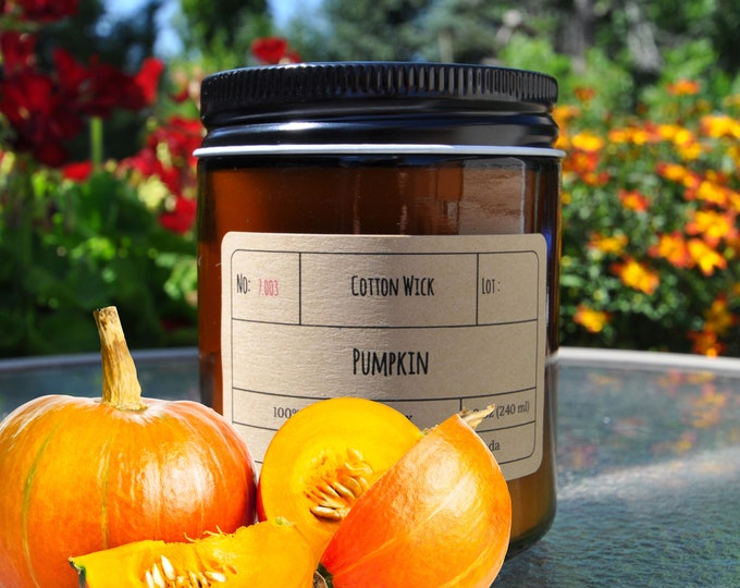 PUMPKIN PIE︱8oz Candle︱Vegetal Soy Wax︱Amber Jar Candle︱Scented Candle︱Soy Candle︱Candle Lover Gift︱Candle Gift︱LightOnMeCandles