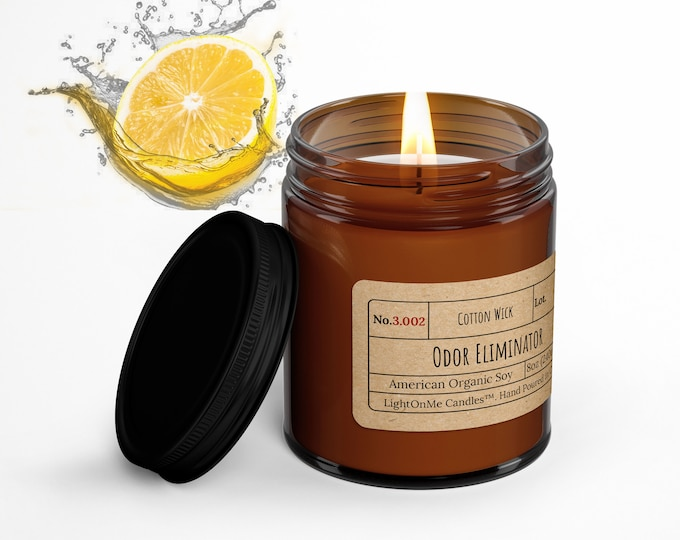 ODOR-ELIMINATOR︱8oz Candle︱Vegetal Soy Wax︱Amber Jar Candle︱Scented Candle︱Soy Candle︱Candle Lover Gift︱Candle Gift︱LightOnMeCandles