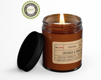 LAVENDER AND VANILLA︱8oz Candle︱Vegetal Soy Wax︱Amber Jar Candle︱Scented Candle︱Soy Candle︱Candle Lover Gift︱Candle Gift︱LightOnMeCandles