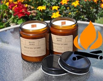 Firewood & Vanilla︱8oz Candle︱Vegetal Soy Wax︱Amber Jar Candle︱Scented Candle︱Soy Candle︱Candle Lover Gift︱Candle Gift︱LightOnMeCandles