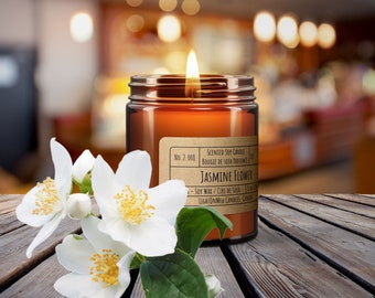 Jasmine Flower Scented Soy Wax Candle, Luxury Soy Candle, Hand Poured Soy Candle