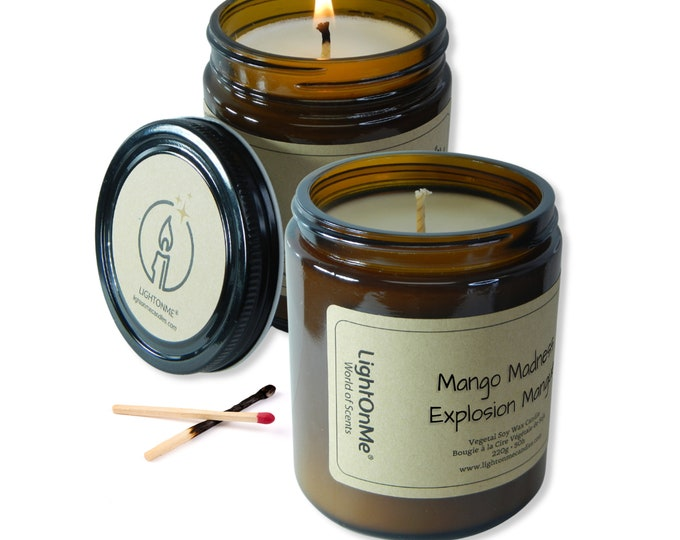 Mango Madness Candle︱8oz Candle︱Vegetal Soy Wax︱Amber Jar Candle︱Soy Candle︱Candle Lover Gift︱Candle Gift︱LightOnMeCandles