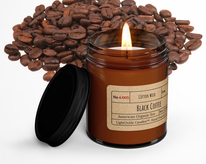 Black Coffee︱8oz Candle︱Vegetal Soy Wax︱Amber Jar Candle︱Scented Candle︱Soy Candle︱Candle Lover Gift︱Candle Gift︱LightOnMeCandles
