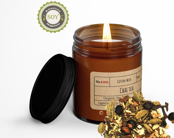 Chai Tea︱8oz Candle︱Vegetal Soy Wax︱Amber Jar Candle︱Scented Candle︱Soy Candle︱Candle Lover Gift︱Candle Gift︱LightOnMeCandles