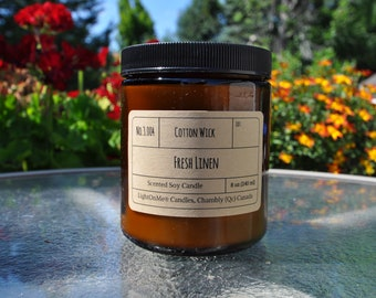Fresh Linen Scented Soy Wax candle