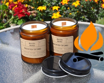 Campfire Smoke Original︱8oz Candle︱Vegetal Soy Wax︱Amber Jar Candle︱Scented Candle︱Soy Candle︱Candle Lover Gift︱Candle Gift︱LightOnMeCandles