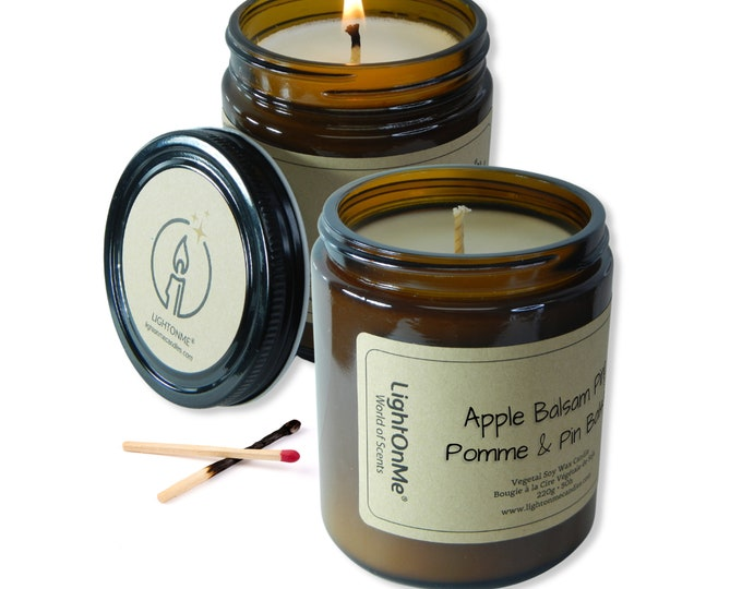 Apple Balsam Pine Candle︱8oz Candle︱Vegetal Soy Wax︱Amber Jar Candle︱Scented Candle︱Soy Candle︱Candle Lover Gift︱Candle Gift