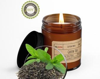 Green Tea︱8oz Candle︱Vegetal Soy Wax︱Amber Jar Candle︱Scented Candle︱Soy Candle︱Candle Lover Gift︱Candle Gift︱LightOnMeCandles