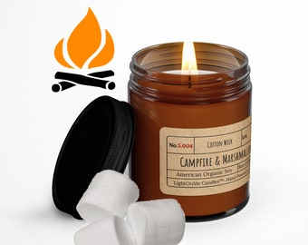 Campfire Smoke & Marshmallow︱8oz Candle︱Vegetal Soy Wax︱Amber Jar Candle︱Scented Candle︱Soy Candle︱Candle Lover Gift︱Candle Gift