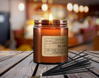 NAG CHAMPA, Scented Soy Candle, 8oz Amber Jar Candle