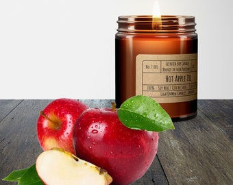 Hot Apple Pie, Scented Soy Wax candle, Luxury Soy Candle, Hand Poured Soy Candle