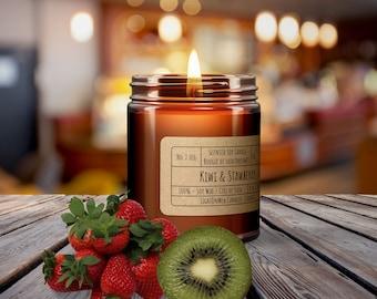 KIWI AND STRAWBERRY︱8oz Candle︱Vegetal Soy Wax︱Amber Jar Candle︱Scented Candle︱Soy Candle︱Candle Lover Gift︱Candle Gift︱LightOnMeCandles