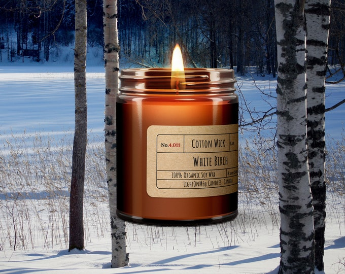 White Birch︱8oz Candle︱Vegetal Soy Wax︱Amber Jar Candle︱Scented Candle︱Soy Candle︱Candle Lover Gift︱Candle Gift︱LightOnMeCandles
