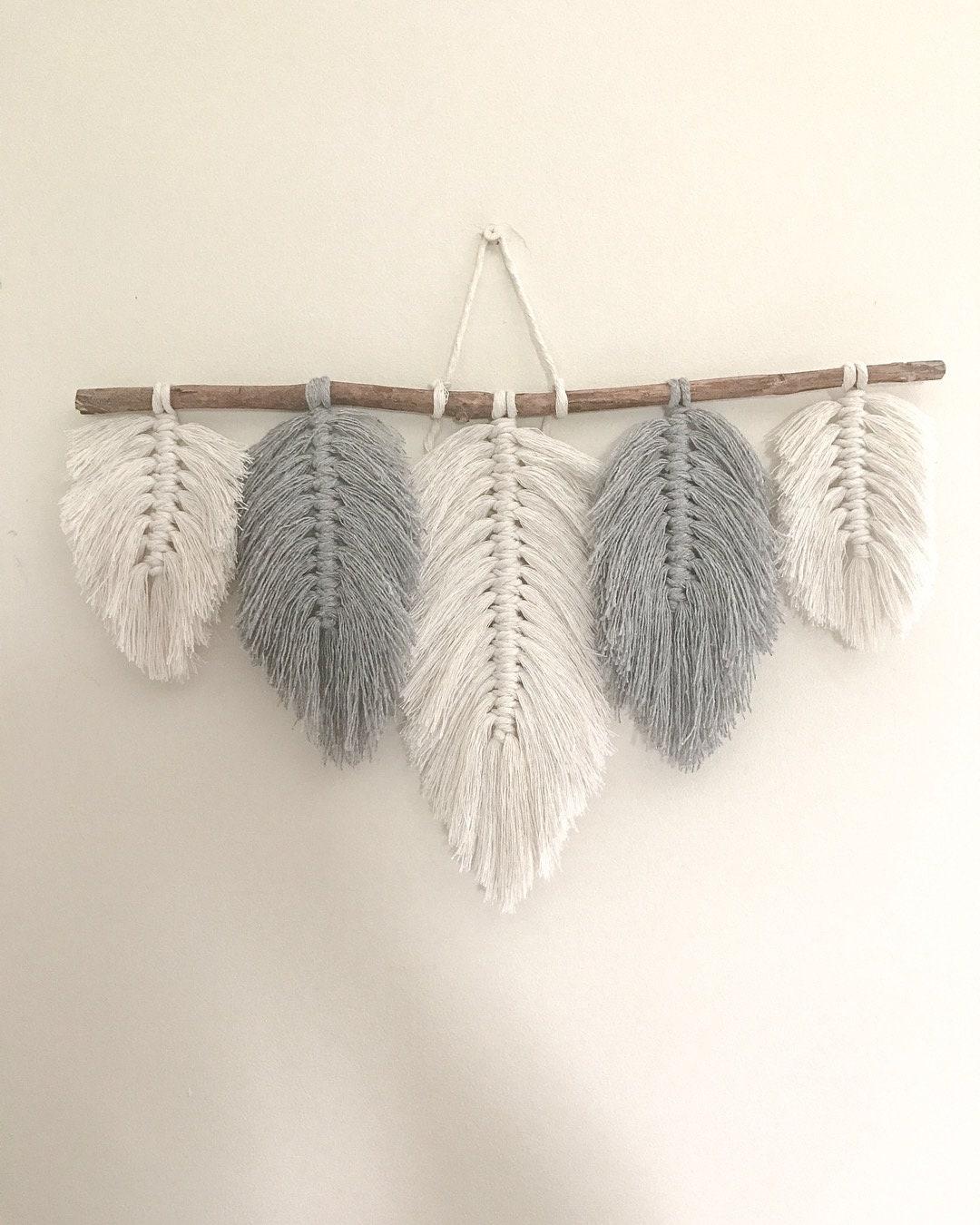 Macrame Feathers Macrame Feathers Wall Hanging Wall Etsy