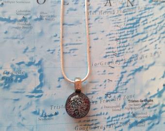 Purple bubbles glass fusion pendant necklace