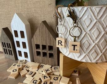 Monogram Letter Tile Keychain / Purse Charm