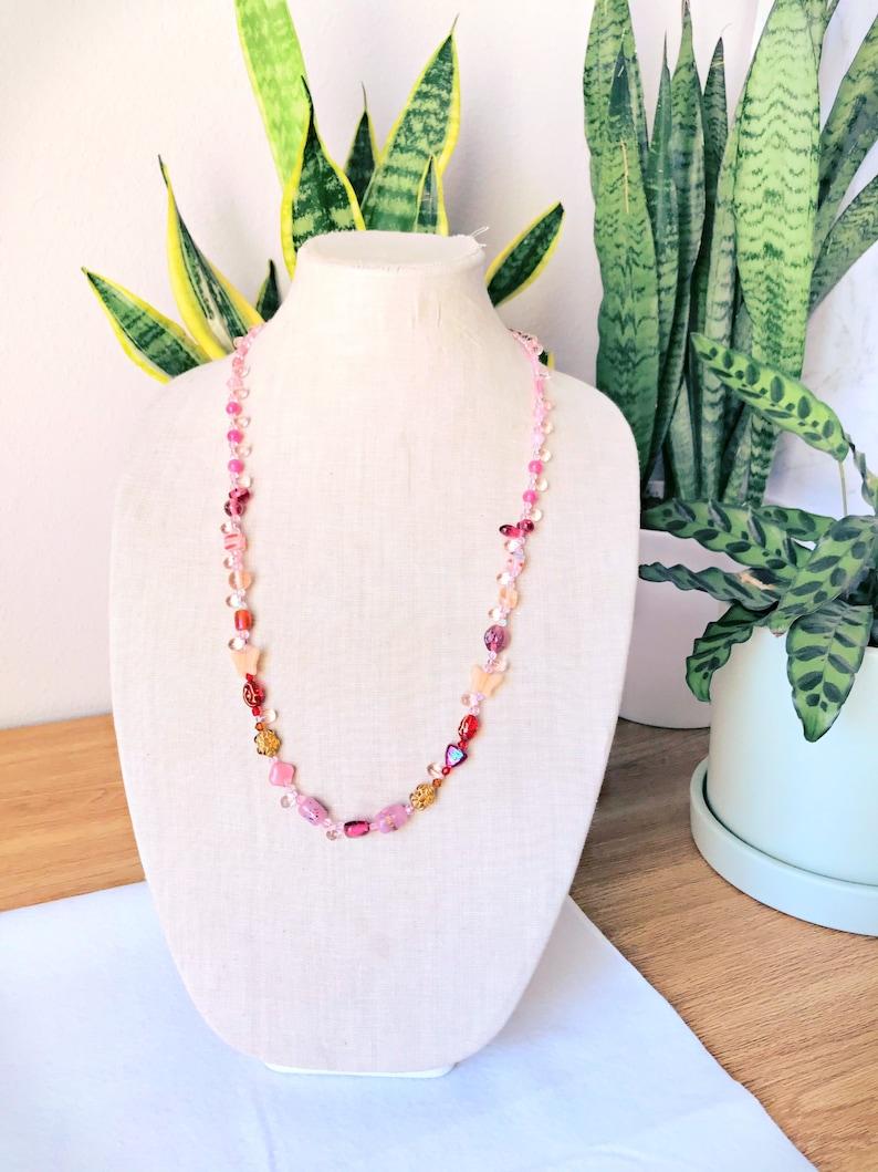 Fun and Artsy Beaded Necklace Boho Style Beaded Necklace Eclectic Beaded Necklace Pink Colorful Eclectic Necklace Long Beaded Necklace