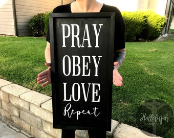 Pray Obey Love Sign, Wood Sign, Christian Wall Decor, Bible Verse Sign, Framed Wood Sign, Christian Wall Art
