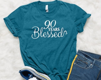 90th Birthday Gift 90 Years Blessed Trendy Tshirts Grandma Grandpa