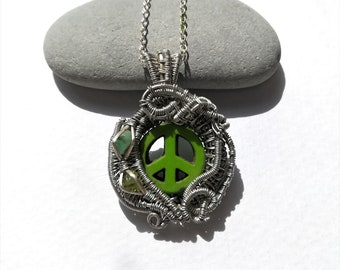 Green Peace Sign / Wire Wrapped Pendant