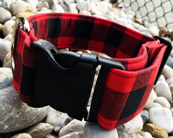 Red Buffalo Plaid Dog Collar - Buckle or Martingale - Custom Embroidery Available!