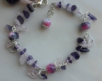 Amethyst and Rose Quartz bracelet