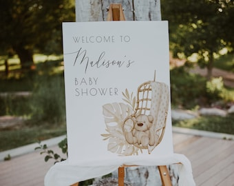 Bear Baby Shower Welcome Sign | We Can Bearly Wait Gender Neutral Shower Welcome Decor Editable Template | S173