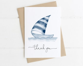 From the Nursery of Sailboat Nautical Boy or Girl Baby Thank You Notes Sailboat Personalized Baby Shower Thank You Cards Baby Stationery