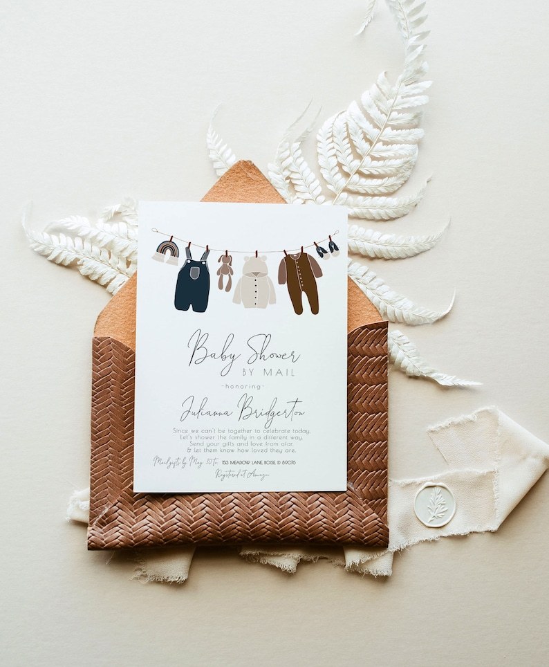 Boy Baby Shower by Mail Editable Invitation Boho Blue and Brown Cottagecore Covid Baby Shower Template Invite S158