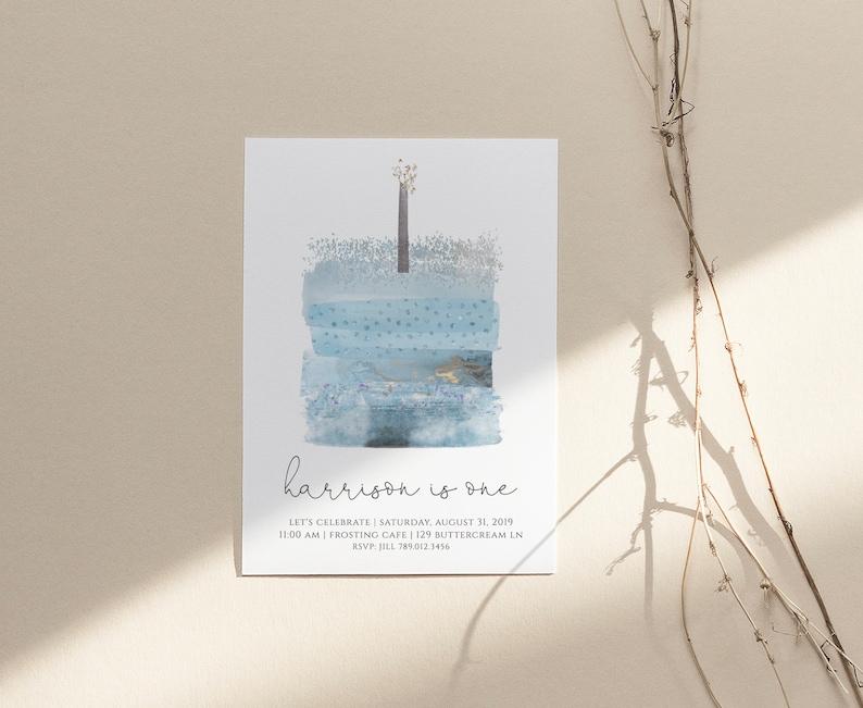 Blue Birthday Cake Invitation First Bday Boy 1st Birthday Invitation Editable Template Instant Download