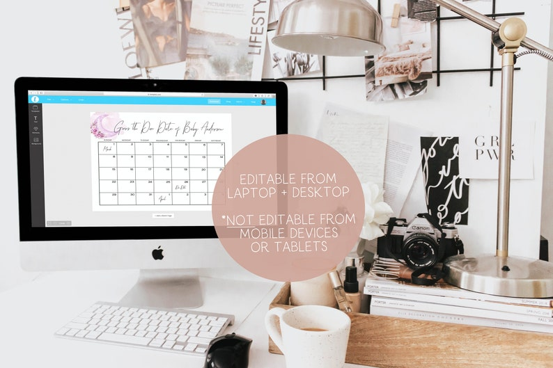 Guess Baby/'s Due Date Calendar Baby Shower Sign Editable Template Instant Download Girl Over the Moon Purple Baby Shower Game