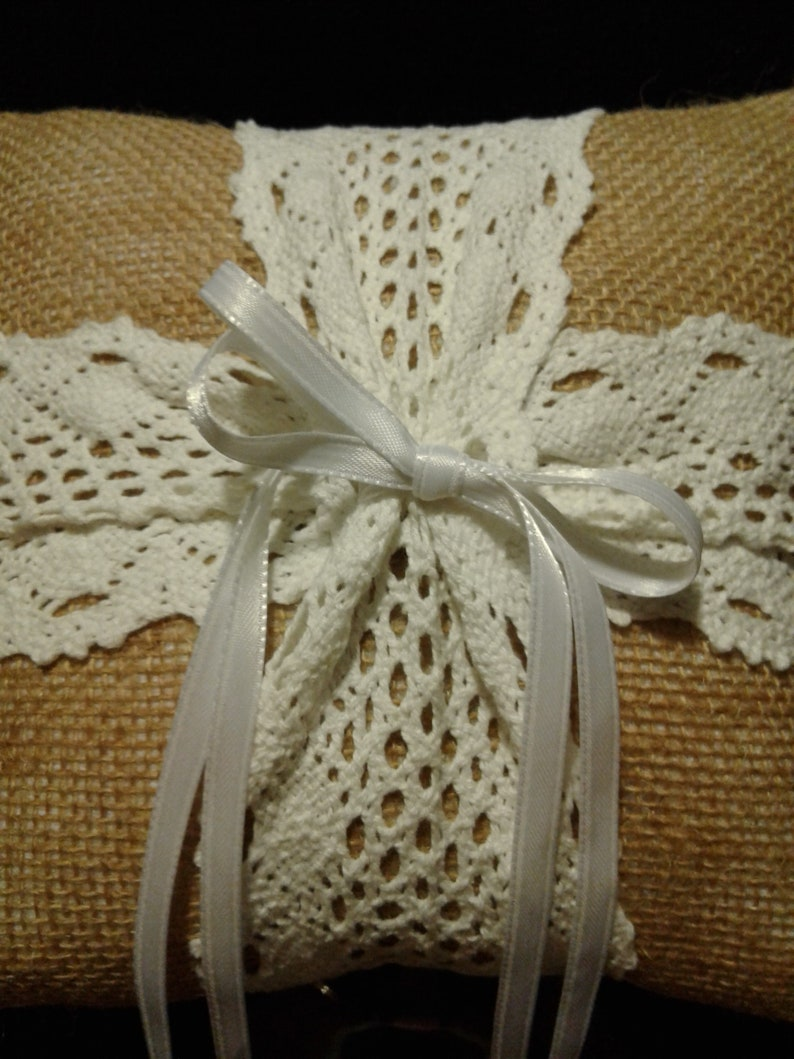 Ring Bearer Wedding Pillow with Burlap and lace