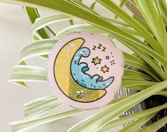 Sleepy Blue Dinosaur Glitter Vinyl Sticker / Moon and Stars