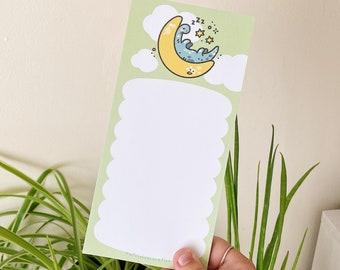 Sleepy Dinosaur List Pad / DL Notepad / Moon