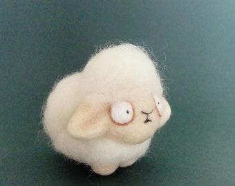 Fuzzy sheep handmade needle felted miniature soft sculpture figurine ideal gift art toy animal creature