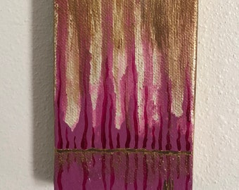Mini Abstract Pink Cypress Trees Acrylic Painting on Stretched Canvas