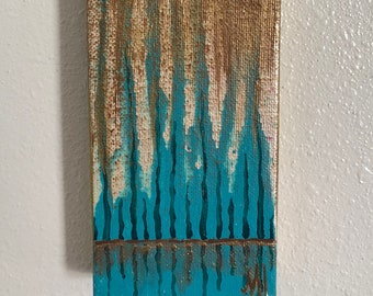 Mini Abstract Teal Cypress Trees Acrylic Painting on Stretched Canvas