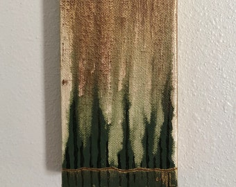 Mini Abstract Green Cypress Trees Acrylic Painting on Stretched Canvas