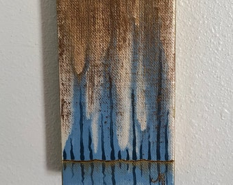 Mini Abstract Blue Cypress Trees Acrylic Painting on Stretched Canvas