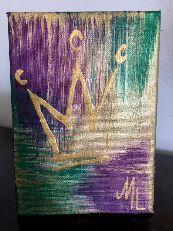 Mini abstrait violet vert et or Mardi Gras Couronne peinture | Etsy