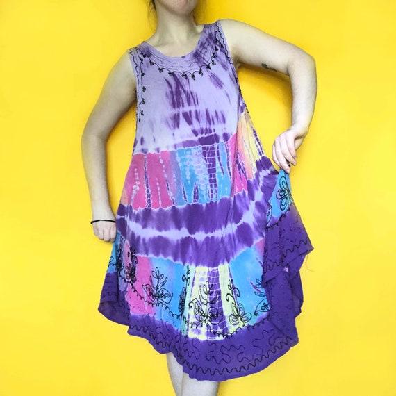Vintage 90s / Y2K Tie Dye Sun Dress | one size - image 1