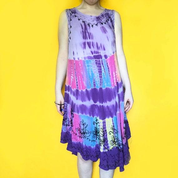 Vintage 90s / Y2K Tie Dye Sun Dress | one size - image 3