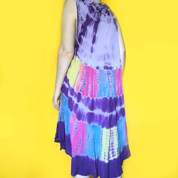 Vintage 90s / Y2K Tie Dye Sun Dress | one size - image 4