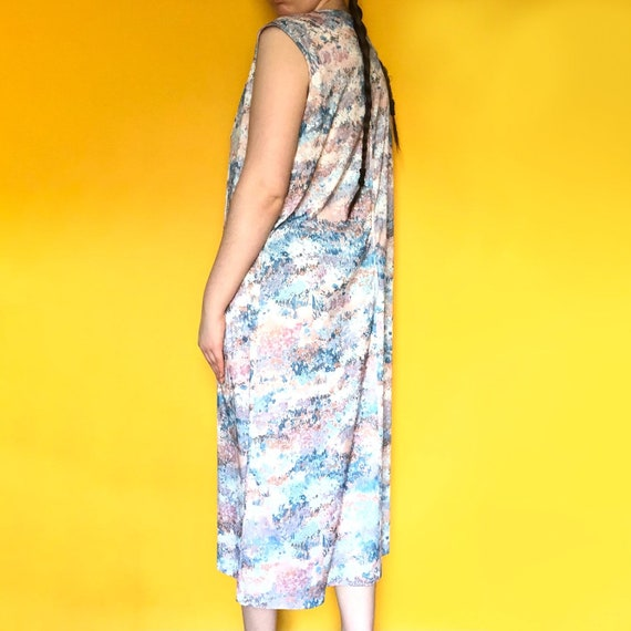 Vintage 70s Silky Pastel Floral Fairycore / Cotta… - image 3