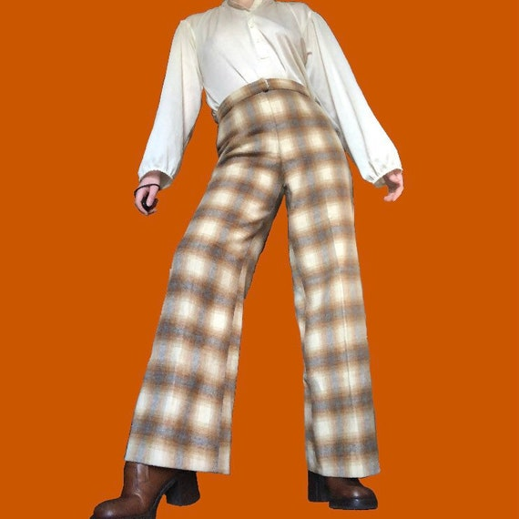 Vintage 70s Plaid Wool Bell Bottoms