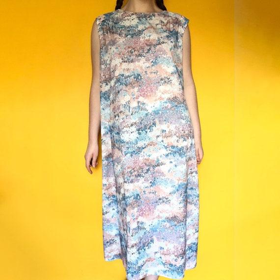 Vintage 70s Silky Pastel Floral Fairycore / Cotta… - image 2