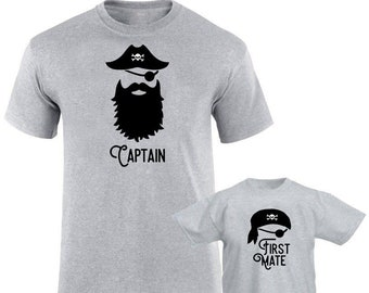 f9f05ed2 Pirate Matching Father/Child Father's Day T-shirts, Captain Men's shirt and  First Mate toddler shirt or onesie