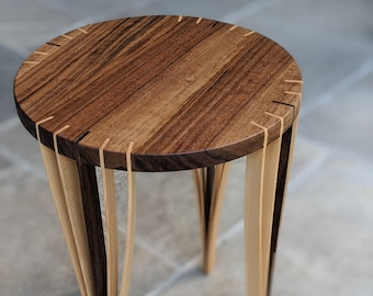 Round Side / End Table for Living room - Walnut top with Walnut and Maple Feet - Japanese Inspired design